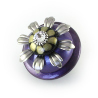 XL Iris knob 2 1/2 inches diameter with silver metal details and swarovski  crystal