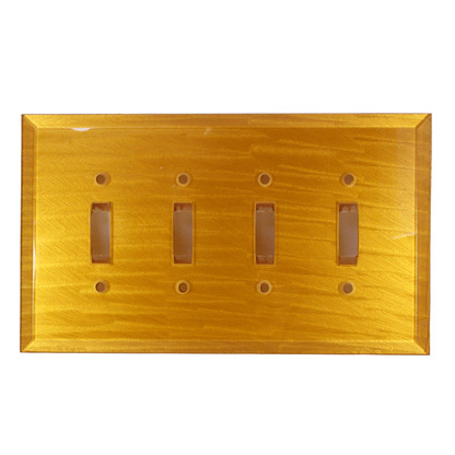 Deep gold Glass Quad Toggle Switch Cover