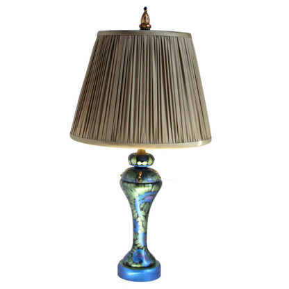 Shirley lamp with pleated Taffeta shade ash beige in lapis blue and turquoise paint finish