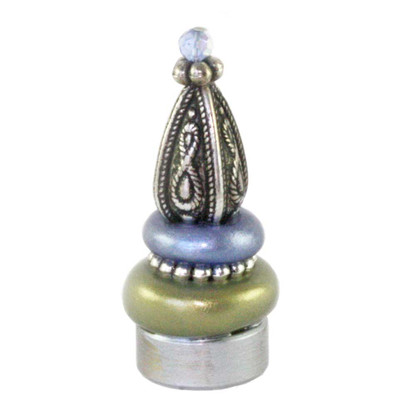 Lamp Finial Seaside in jade and light sapphire with silver metal details and Swarovski blue crystal