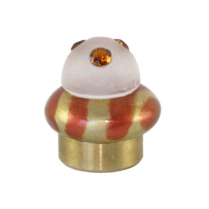 Lamp Finial Tempo gold  in copper and light gold with frosty cabochon and Swarovski topaz crystals