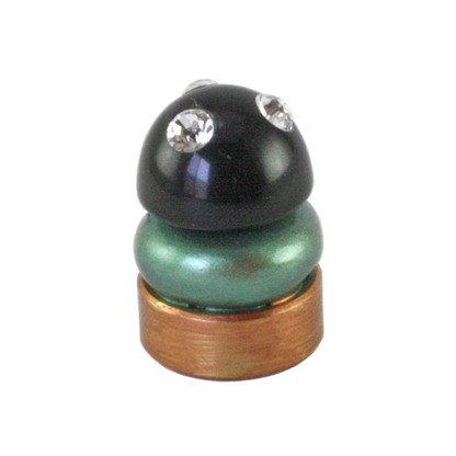 Lamp Finial Deco in Emerald with black cabochon and Swarovski crystals