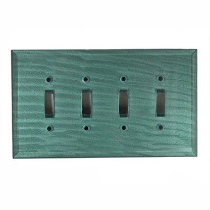 Glass quad toggle switch cover in aqua
