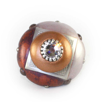Mini Duo Dark Copper and Amber 2 in.diameter with silver metal accents and Swarovski Crystal
