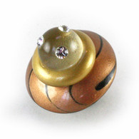 Congo Light knob amber 2 in diameter with light gold accents  and swarovski crystals