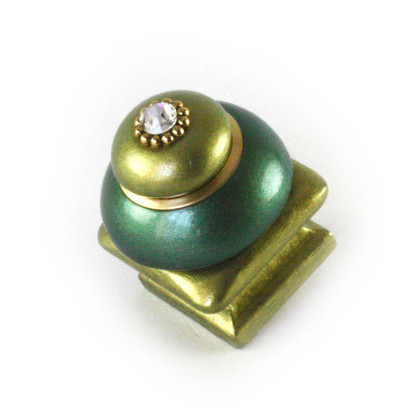 Duo Square Knob emerald and jade 1.25 Inches with gold metal details and Swarovski crystal.