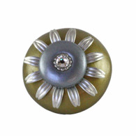 Mini Zinnia Knob Bronze and Moonstone 2 Inches Diameter with silver metal details and crystal.