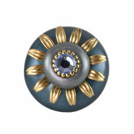Mini Luna Knob Teal and Moonstone 2 Inches Diameter with gold metal details and light sapphire crystal.