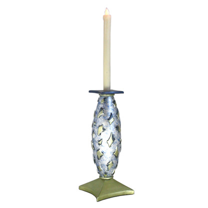 Confetti  LED Candlestick Jade is cast resin and hand painted with beeswax battery operated flickering candle.