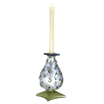 Confetti  Style 1 LED Candlestick Light Sapphire is cast resin and hand painted with beeswax battery operated flickering candle.