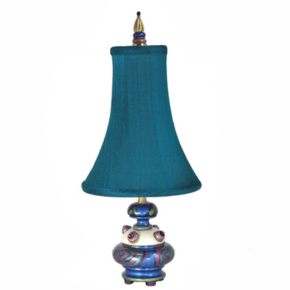 Pixie Accent lamp with bell shade in silk Teal
