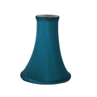 Lamp shade Burmese silk bell Teal with white lining
