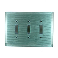 Aqua Glass Triple Toggle Switch Cover