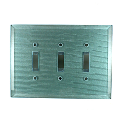 Aqua Glass Triple Toggle Switch Cover