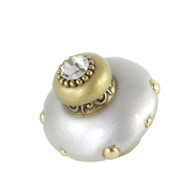 Mini Isabella Knob Alabaster  2 Inches Diameter with gold metal details and Swarovski crystal