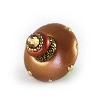 Mini Isabella Knob Amber 2 Inches Diameter with gold metal details and Swarovski light smoke topaz crystal