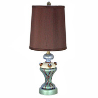Lolli Mint Accent lamp with hardback cylinder shade in silk Chocolate