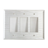 Pearl white glass triple decora switch cover