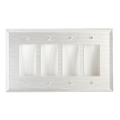 Pearl White Glass quad decora switch cover