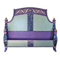 Barcelona Bed with low foot board in mint green with pink and lilac rose motif