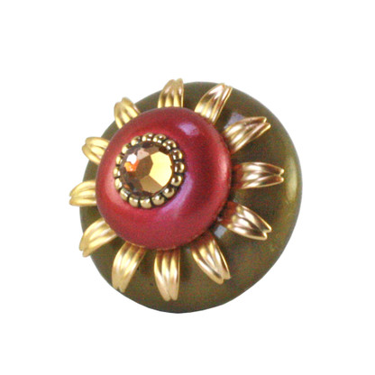 Mini Dahlia Knob Sunset Gold and Ruby 2 Inches Diameter with gold metal details and Swarovski Light smoke topaz crystal crystal