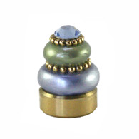 Lamp Finial Crystal button in Light sapphire and jade green with Light sapphire crystal