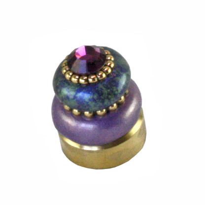 Lamp Finial Crystal button in amethyst and turquoise with amethyst crystal