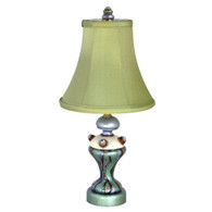 Lolli Sage Accent lamp with soft bell shade dupioni silk sage green