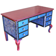Jitterbug Dressing Room Vanity in vibrant lapis blue and lush sassy pink