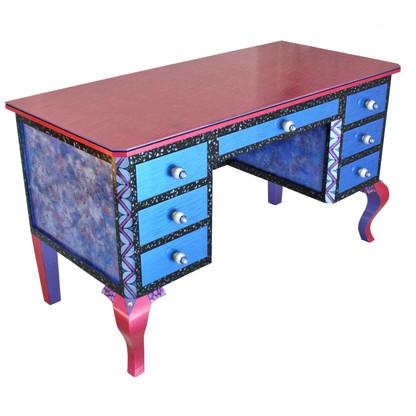 Jitterbug Dressing Room Vanity in vibrant lapis blue and lush sassy pink