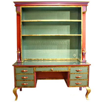 Jitterbug desk with hutch in aqua and ruby offers both storage and display