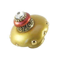 Mini Isabella Knob Light gold  2 Inches Diameter with gold metal details and Swarovski crystal