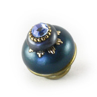 Nu Luna Knob Teal and Moonstone 1.5 Inches Diameter with gold metal details and light sapphire crystal.