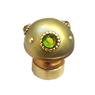 Lamp Finial Style 6 in jade with gold metal details and Swarovski olivine crystals.