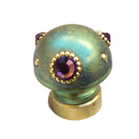 Lamp Finial Style 6 in Turquoise  with gold metal details and Swarovski amethyst crystals.