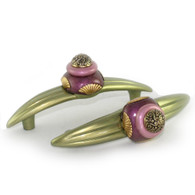 Pair of Tudor jade amethyst orbit 7 pull IRR 7 inches with 5 inch hole span with gold metal details