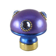 Lamp Finial Style 6 in periwinkle and and lapis blue with gold metal details and Swarovski light sapphire crystals.