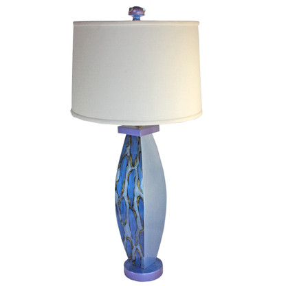 Blue Betty lamp  with retro shallow drum shade in white linen has paint treatment in lapis and light sapphire blue