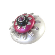 Mini Peony Alabaster and Fuchsia 2 In. diameter with silver metal details and amethyst crystal