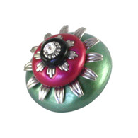 Mini Peony Light Emerald and Fuchsia 2 In. diameter with silver metal details and Swarovski crystal