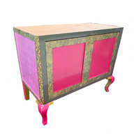 Charisma Vanity Sink Cabinet in Hot pink, Spring green and Bright Yellow  paint finish