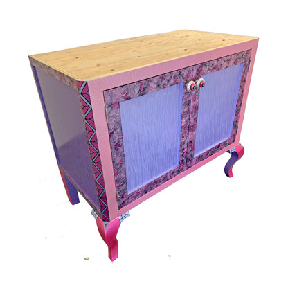 Charisma Vanity Sink Cabinet in Lilac and Pink paint finish
