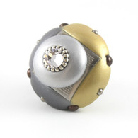 Mini Duo light gold 2 in.diameter with silver metal accents and Swarovski Crystal