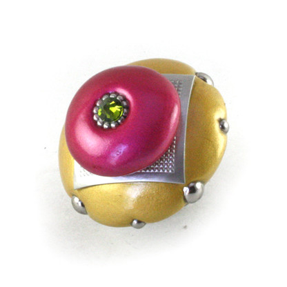 Mini Kyle knob light gold and fuchsia 2 in. diameter has silver metal details and olivine crystal