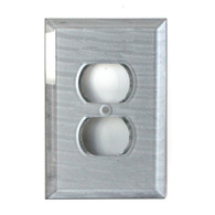 Silver glass single duplex outlet cover