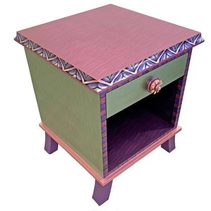Rumba 1 end table night stand has mint green, pink. lavender and deep lilac paint finish.