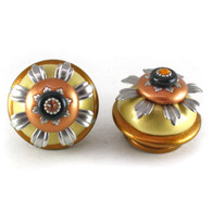 Pair of XL Sunflower Knobs Deep Gold 2.5 in.