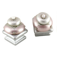 Pair of Duo Square Knobs Pale Blush and Alabaster  1.25 In.