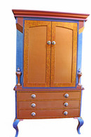 Diva Armoire 2 piece storage and media cabinet in amber and lapis blue paint finish