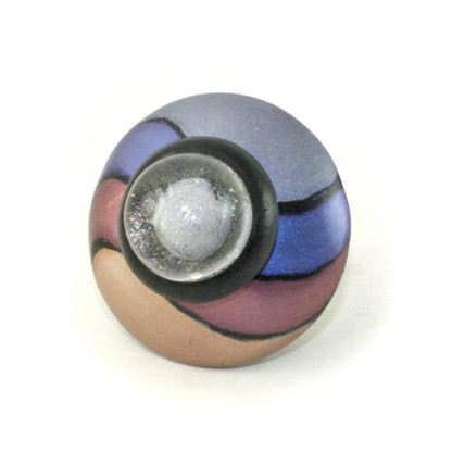 Congo knob multi striped 2 in diameter with has cabochon with imbedded silver button.